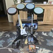 Rock Band Special Ed. +gh3 Playstation Complete Drum Set Bundle,guitar W/ Dongle