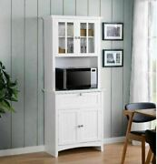 Microwave Stand Wood Kitchen Pantry Cupboard Tall Storage Cabinets W Doors White