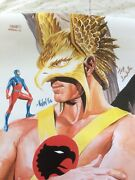 Hawkman And The Atom Poster By Alex Ross Signed By Artists/writers