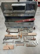 Lot Antique Vintage Woodworking Tool Box Saw Level Draw Knife Block Plane Wrench