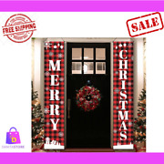 Christmas Xmas Set Of 2 Porch Signs Outdoor Decoration Door Banners Front 7113