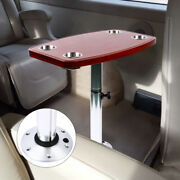 Boat Tableremovable Rectangular Marine/rv Table With 4 Cup Holders Pedestal Bas