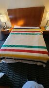 """Hudson's Bay 6 Point Wool Blanket 90"""" By 100"""" Vintage Candy Stripe In Box"""