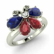 1.90 Ct Real Diamond Sapphire And Ruby Gemstone Ring Fine 950 Platinum Band Size 7