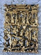 Antique Chinese Temple Wood Carving Panel With Gold Leaf Gilt 17 In X 12 In X 2