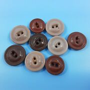 9 Antique Porcelain China Sewing Buttons. Various Brown Colors 2 Hole Button Lot