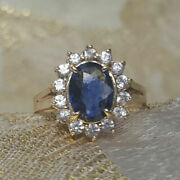 1.75 Carat Real Diamond Blue Sapphire Rings 14k Solid White Gold Size 5 6 7 8 9