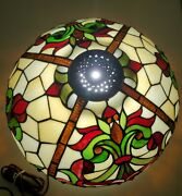 Vintage 16 Style Stained Glass Lamp Shade Jeweled Beaded Edge Christmas