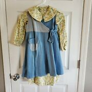 Daisy Kingdom Girls Flannel/denim Factory Made Size 4 Vintage Yellow Floral