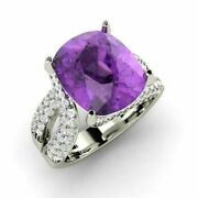 Solid 14k White Gold Band 5.0 Ct Natural Diamond Amethyst Christmas Party Ring 7