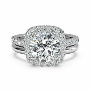 0.90 Ct Real Diamond Engagement Ring Set Solid 14k White Gold Round Size 5 7 8