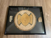 Apache / Hopi Ceremonial Butterfly Woven Basket Tray Native American And Pottery A