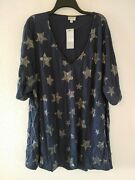 Avenue Plus Size 26/28 Navy Silver Foil Star Tunic V Neck Crinkle Shirt New Top