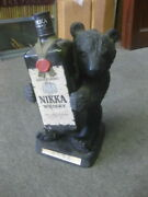 Nikka Whiskey Empty Bottle Bear Wood Carving Style For Display Figurine Figure