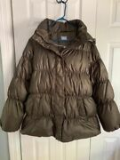 Gap Maternity Puffer Coat Jacket Brown With Detachable Hood Size Xl