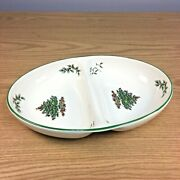 Spode Christmas Tree 11 5/8 Oval Divided Serving Bowl Oven To Table
