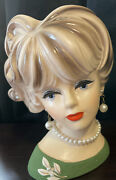 Vintage Napcoware Lady With Pearl Earrings And Necklace Made In Japan C 7472