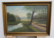 Painting Oil Painting Antique Landscape Of Countryside North Europe Orginal R94