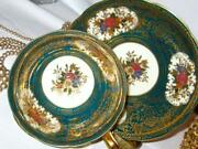 Rare Occupied Japan Teal And Heavy Gold Etched Roses Tea Cup And Saucer Set
