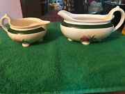 Vintage Homer Laughlin Nautilus Footed Gravy Boat And Creamer