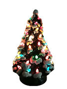 """Ceramic Holland 13"""" Inch Mold Table Top Christmas Tree Lighted Two Piece Vintage"""