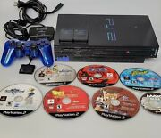 Sony Ps2 Playstation 2 Console + Controller + 6 Games + 2 Memory Cards Bundle