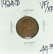 1924-d Lincoln Wheat Cent Vf/xf Nice Coin