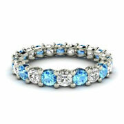 2.03 Ct Real Blue Topaz 950 Platinum Stunning Diamond Band For Her Size 5 6 7 8
