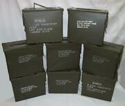 8 Qty 50 Cal Tall Ammo Cans -used Once@fuze Cans - A1 Condition Made In Usa