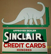 Awesome 2 Piece Sinclair/dino Flange Sign Heavy Steel Great Color And Shine