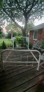 Antique Vintage Cast Iron Bed Frame With Rails Full Size Shabby Chic Cottage Bed