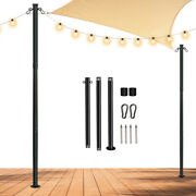 String Light Pole 8and039 Stainless Steel Patio String Lights Pole Solar String Light