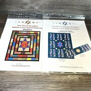 Fay Nicoll Designs Judaica Art Quilt Patterns Set Of 2 Shalom And Stained Glass