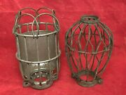 2 Vintage Lightbulb Explosion Proof Cages, Industrial, Factory, Pendant Lighting