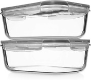 8 Cups/ 63 Oz 4 Piece 2 Containers + 2 Lids Large Glass Food Storage/baking With