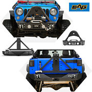 Eag Fits Wrangler Jk Front And Tire Carrier Rear Bumper With 2 Hitch Receiver