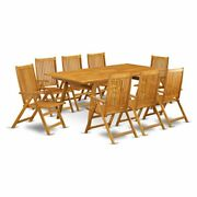 East West Furniture Denison 9-piece Wood Patio Table Set In Natural Oil