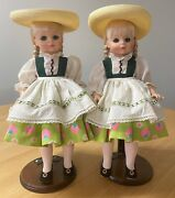 Lot Of 2 Madame Alexander 13.5 Vintage 1970and039s Heidi Dolls With Hats