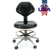 5 Adjustable Stool Dentist Doctor Chair Rolling Stools Black Pu Leather