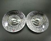 Orrefors Crystal Discus Votive Candle Holders Set Of 2
