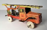 Antique Tin Litho German Penny Toy - Fire Ladder Truck 216 Germany