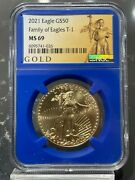 2021 50 Gold American Eagle Type 1 Ngc Ms 69 Liberty Series Blue Core