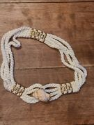 Vintage 90s Real Shell White Rope Cord Belt Gold Tone Accents Statement Boho