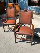 Pair Theodore Alexander Leather Arm Chairs