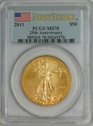 2011 50 American Gold Eagle 25th Anniversary First Strike Ms70 Pcgs 944739-36