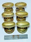 Set Of 3 Pairs Antique Regency Revival Brass Oval Knob Door Handles And Backplates