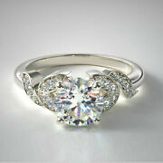 Solid 14k White Gold 0.65 Carat Real Round Diamond Engagement Ring Size 5 6 7 9