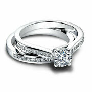 0.80 Ct Real Diamond Engagement Ring Set Solid 18k White Gold Rings Size 5 7 8 9