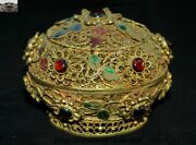 188 G Silver Filigree 24k Gold Inlay Gem Flower Chinese Queen Jewelry Box Boxes