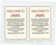 Welcome To Psa Pair Of Free Drink Coupons Expired In 1987 Pacific Southwest